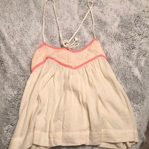 Tops - Off white and pink stitched tank